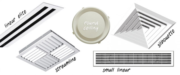 differnt types of air-conditioner diffusers are used in different situations.